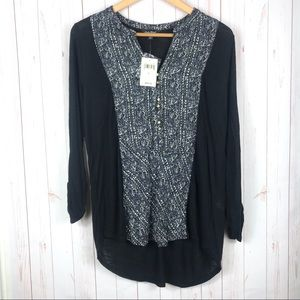 NWT Lucky Brand Boho Black Blouse Size L